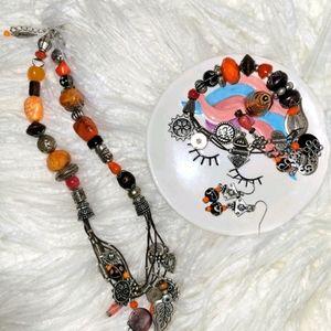 Bohemian stones jewelry set